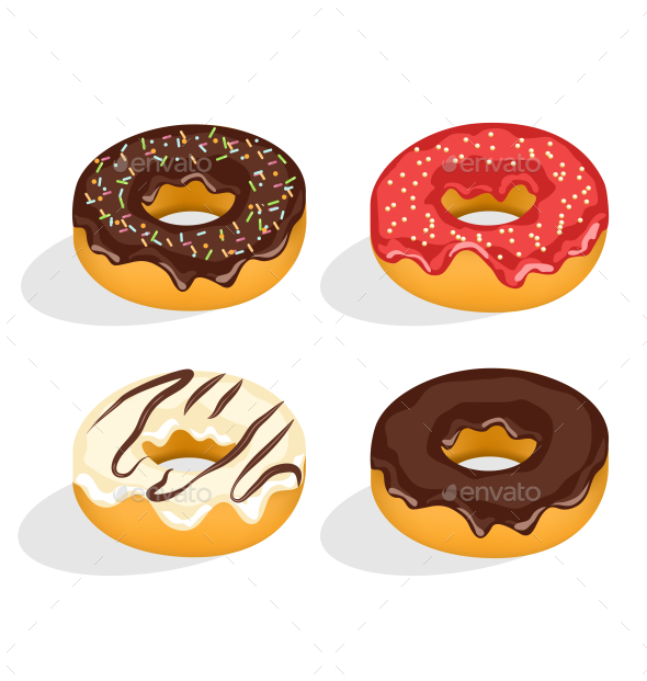 Four Donuts with Glaze - Food Objects