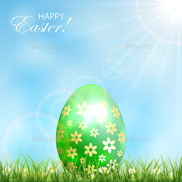 Green Easter Egg in Grass - Backgrounds Decorative