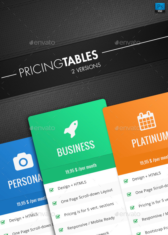Clean Pricing Tables - Tables Web Elements