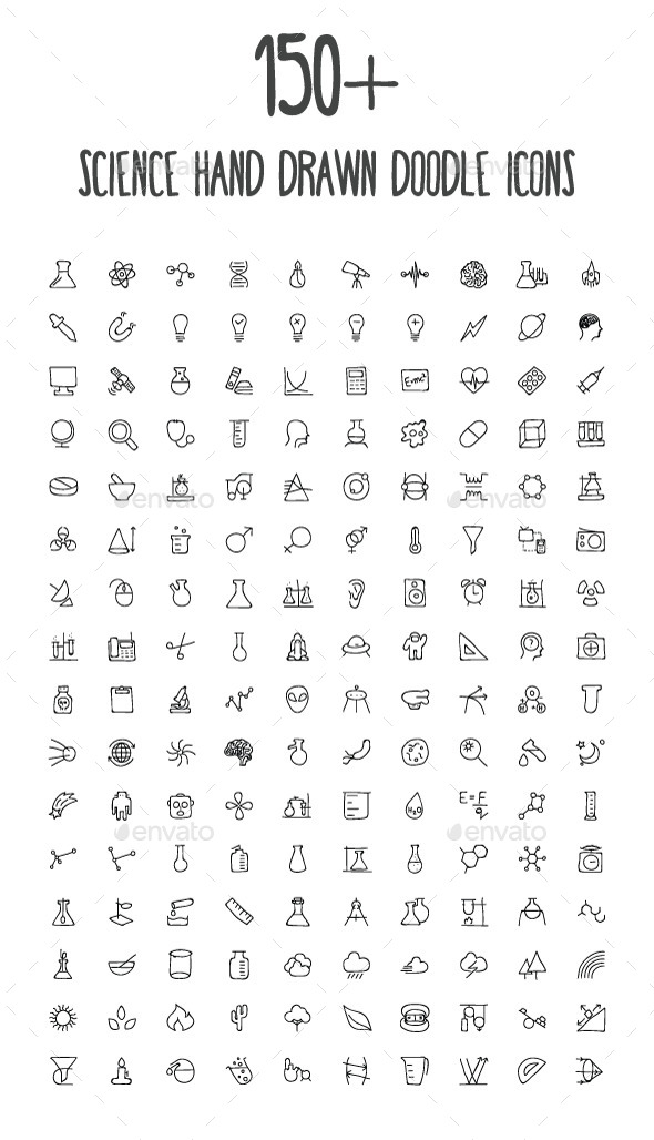 150+ Science Hand Drawn Doodle Icons - Icons