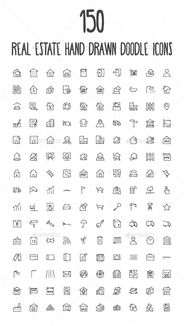 150 Real Estate Hand Drawn Doodle Icons - Business Icons