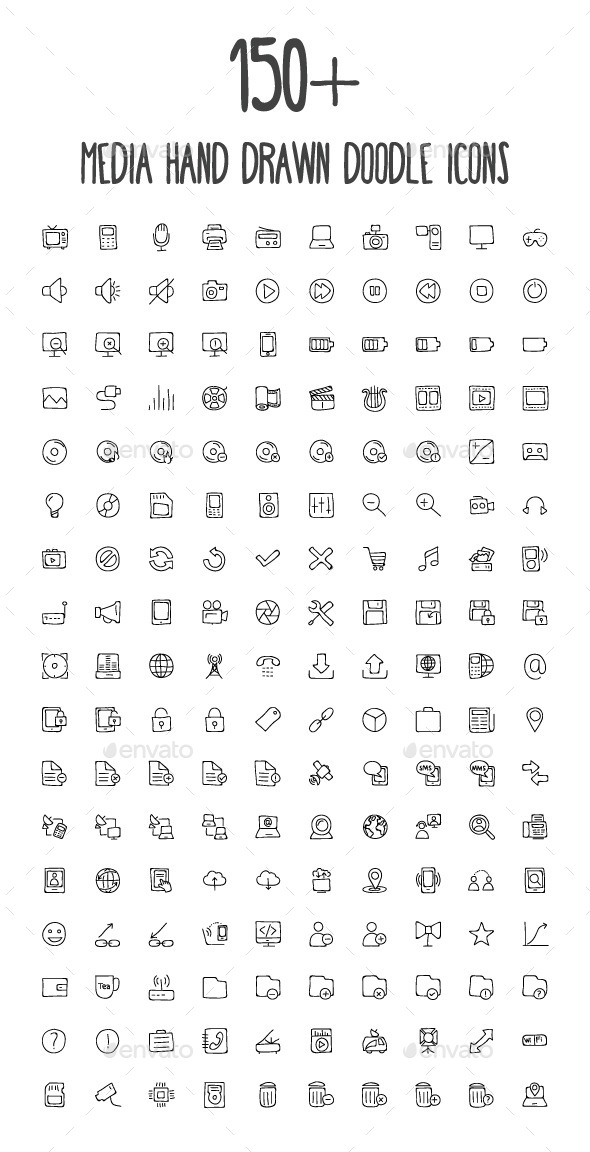 170 Media Hand Drawn Doodle Icons - Media Icons