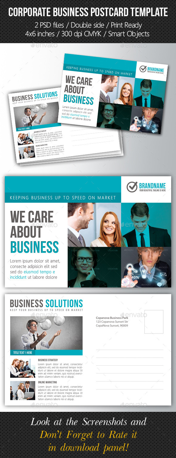 Corporate Business Postcard Template V08 - Cards & Invites Print Templates