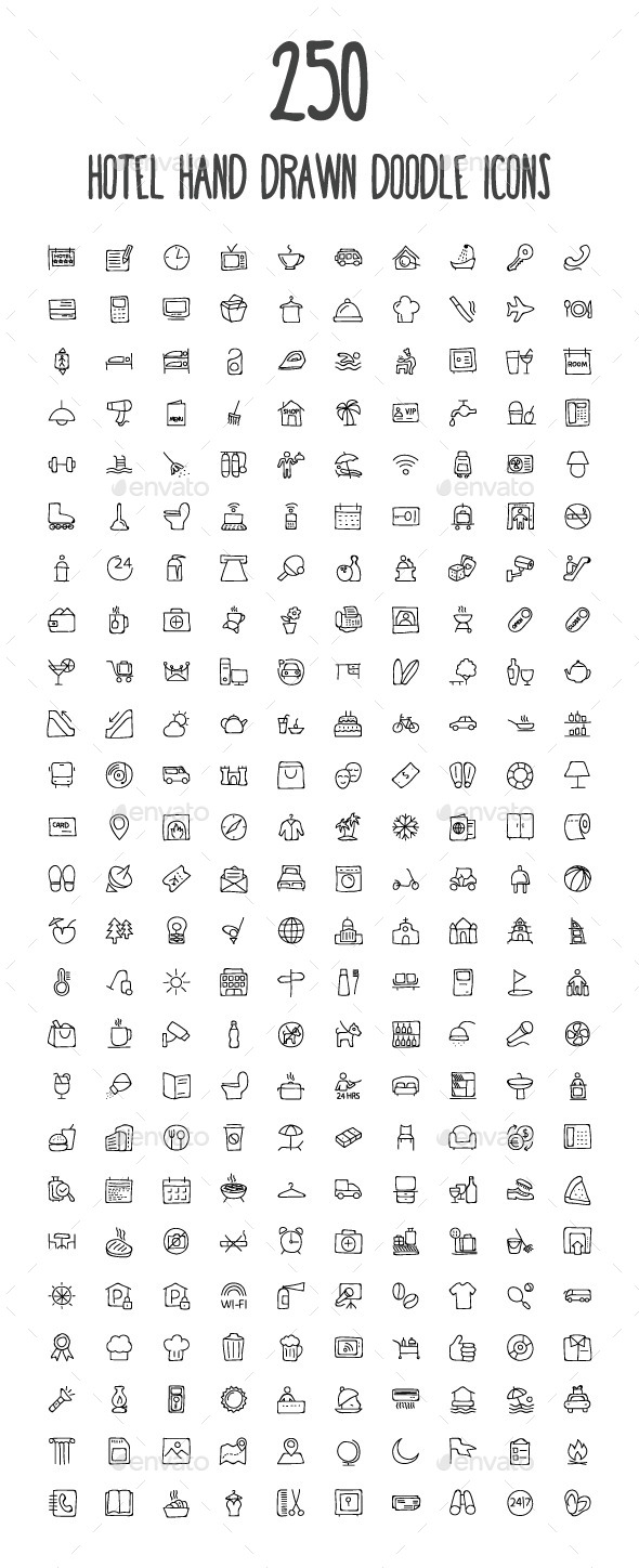 250 Hotel and Restaurant Doodle Icon - Icons
