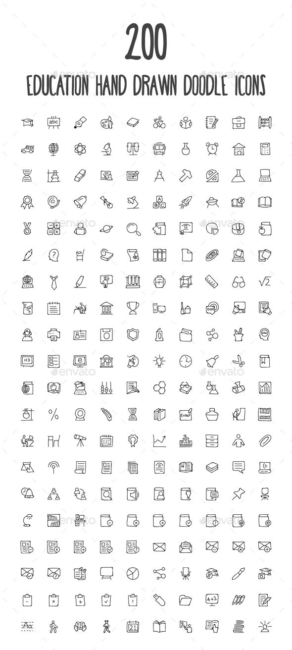200 Education Hand Drawn Doodle Icon - Icons