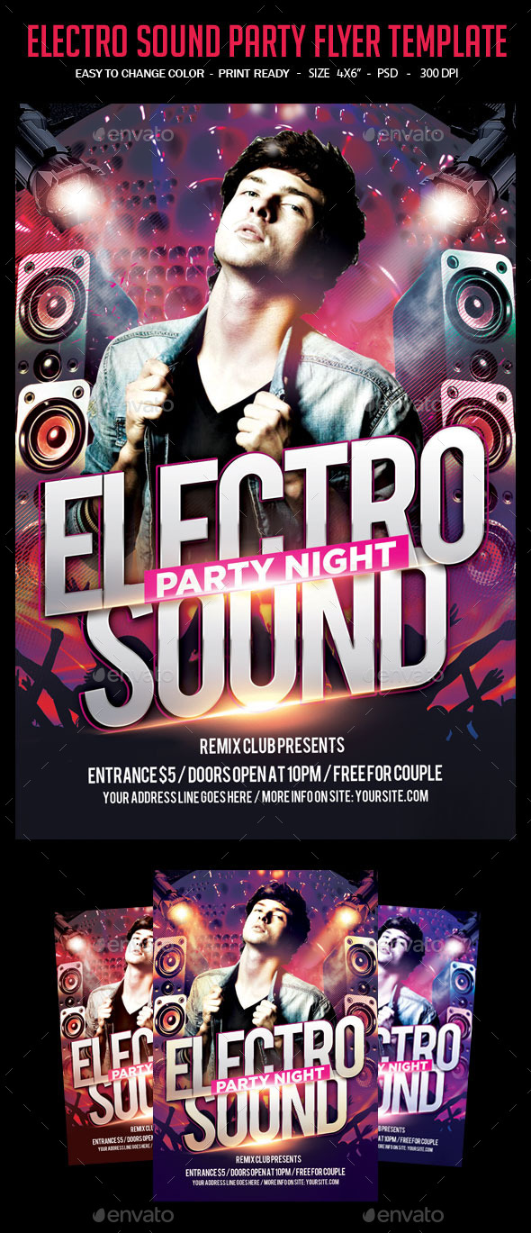 Electro Sound Party Flyer Template - Clubs & Parties Events