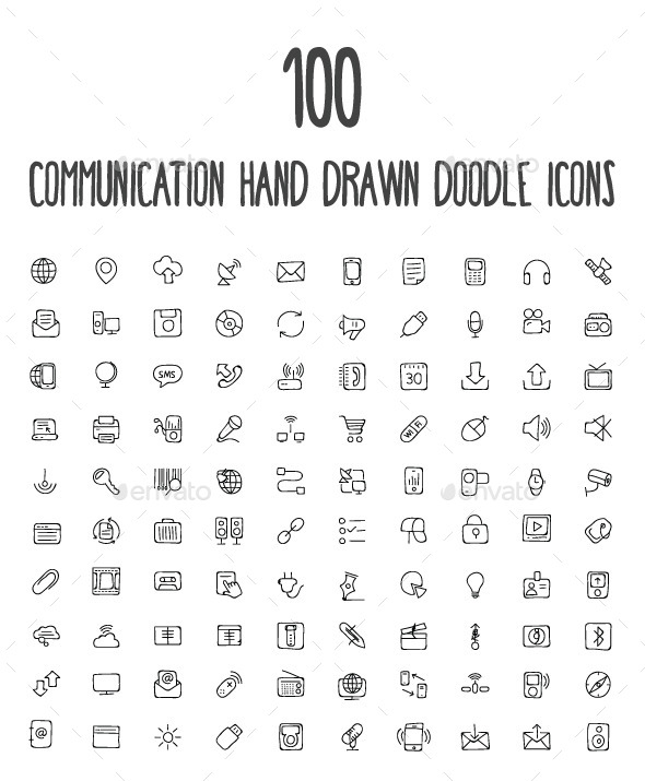 100 Communication Hand Drawn Icons - Technology Icons