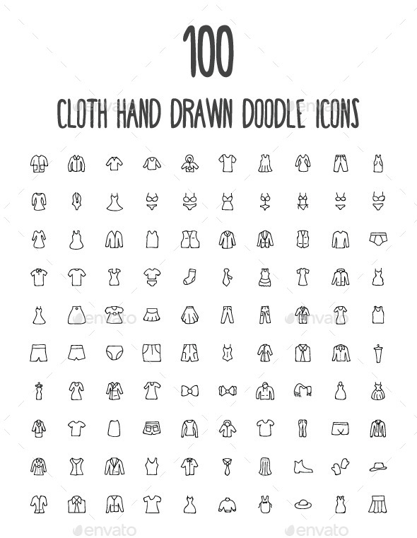 100 Cloth Hand Drawn Doodle Icons - Man-made objects Objects
