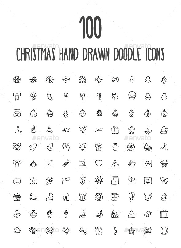 100 Christmas Hand Drawn Icons - Seasonal Icons
