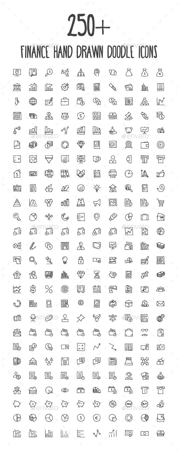 250+ Finance Hand Drawn Doodle Icons - Icons