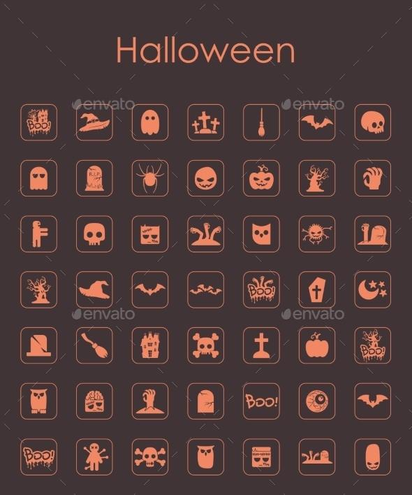 Set of Halloween Icons - Web Elements Vectors