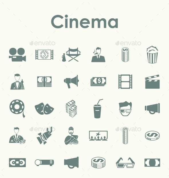Set of Cinema Icons - Web Elements Vectors
