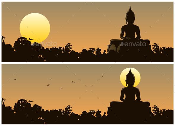 Buddha Sunset - Travel Conceptual