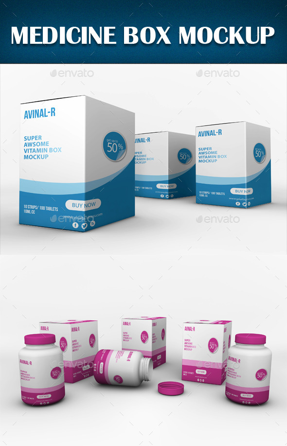 Medicine Box Mockup - Miscellaneous Packaging