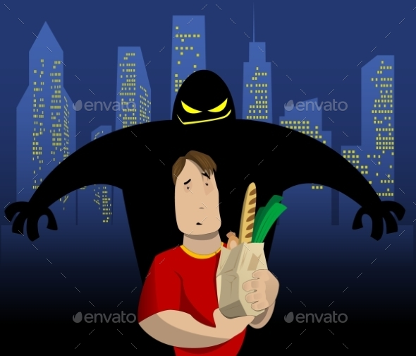 Cartoon About Crime in the City - Miscellaneous Vectors