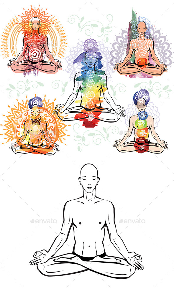 Man Meditating and Doing Yoga Poses - People Characters