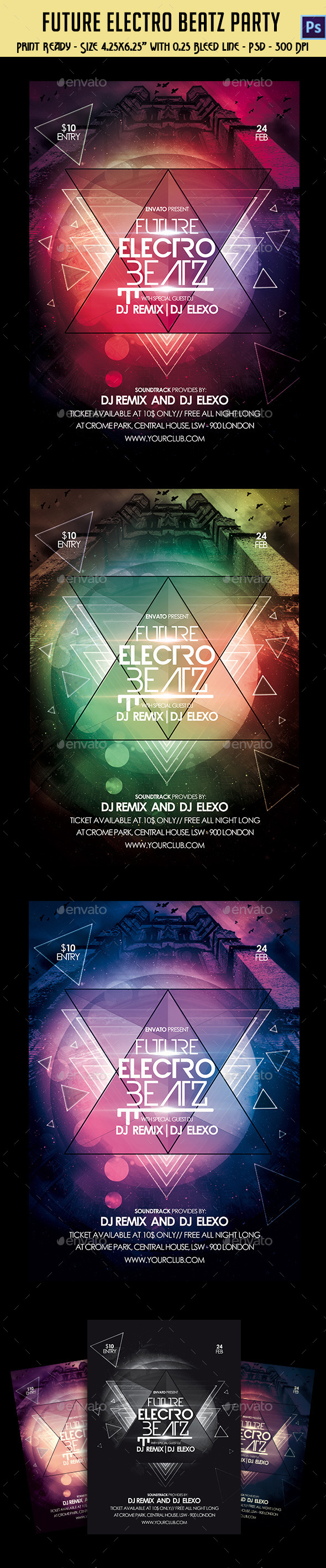 Future Electro Beatz Party Flyer - Clubs & Parties Events