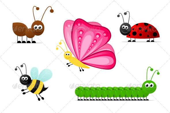 Simple Cartoon Insects - Animals Characters