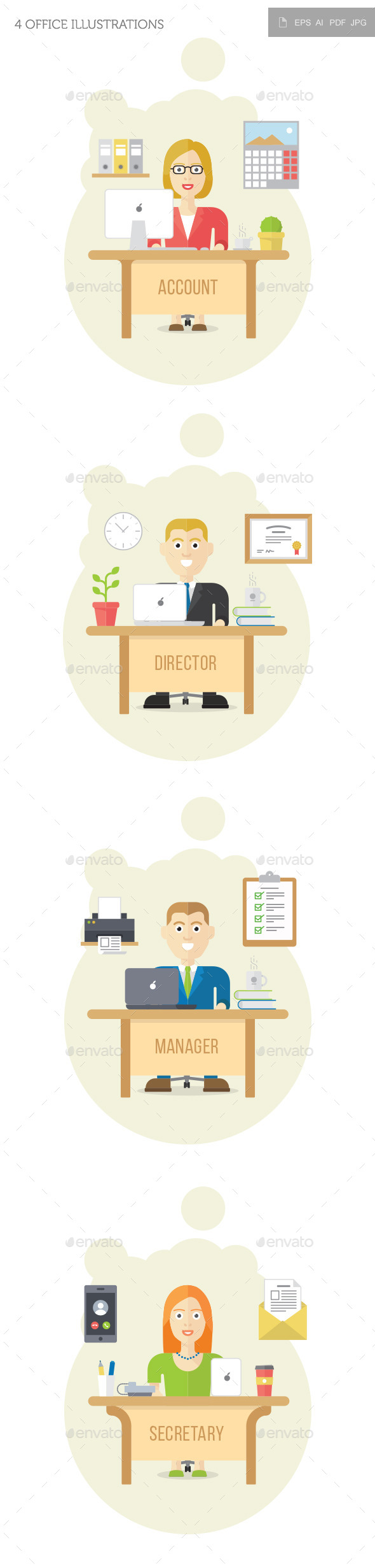 4 Office Illustrations - Backgrounds Business
