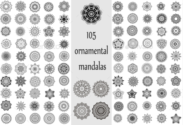 Ornament Round Set with Mandalas - Flowers & Plants Nature