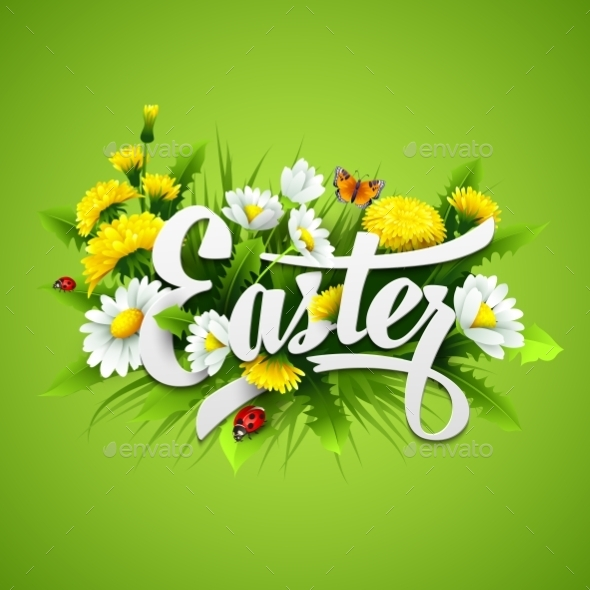 Easter with Spring Flowers - Miscellaneous Seasons/Holidays
