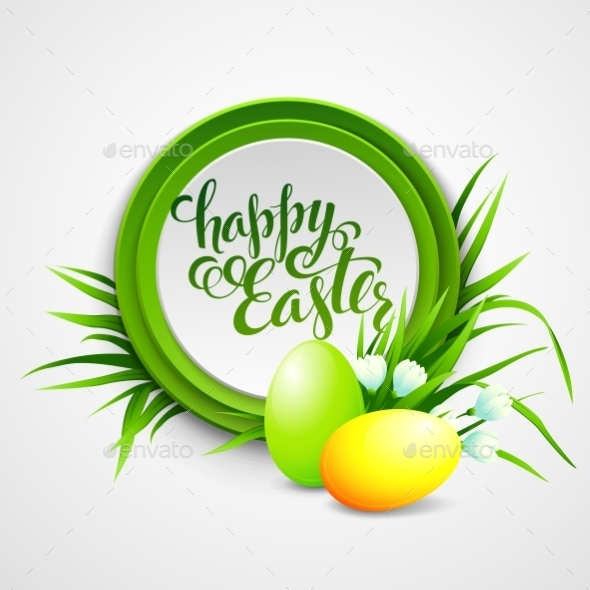 Easter Card with Eggs and Flowers - Miscellaneous Seasons/Holidays