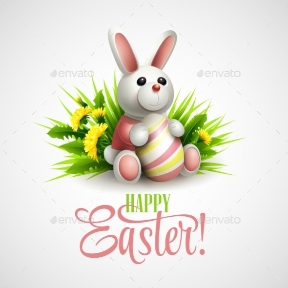 Easter Card with Bunny - Miscellaneous Seasons/Holidays