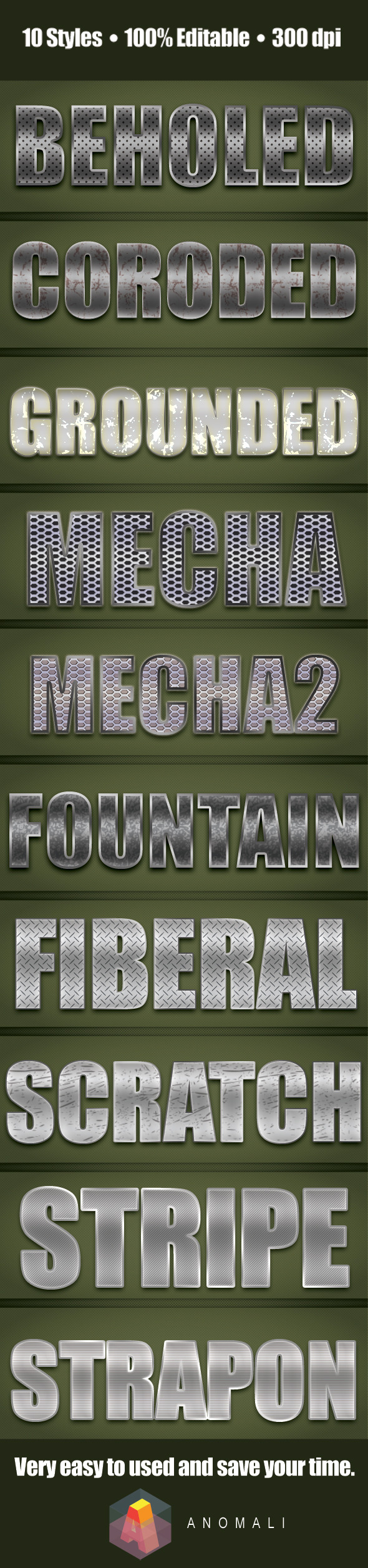 Premium Metalic Chrome and Iron Style - Text Effects Styles