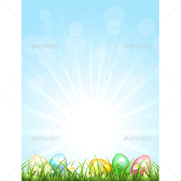 Easter Eggs in the Grass - Miscellaneous Seasons/Holidays