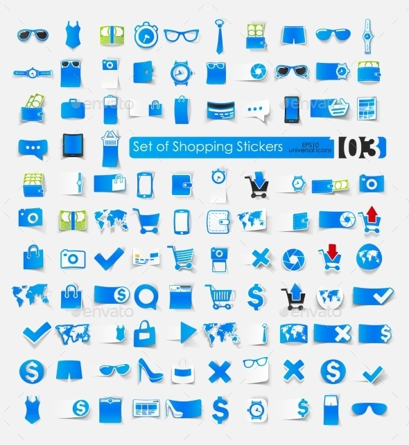 Shopping Stickers - Web Elements Vectors