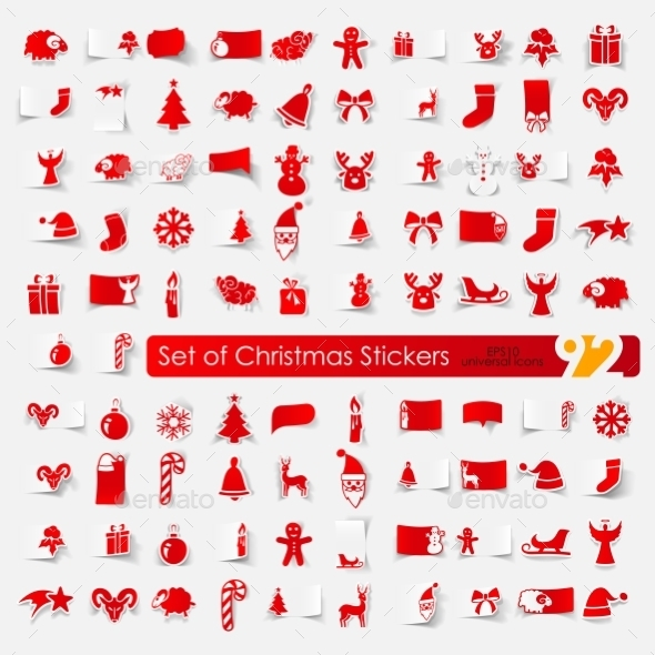 Christmas Stickers  - Web Elements Vectors