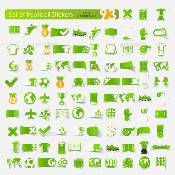Football Stickers  - Web Elements Vectors