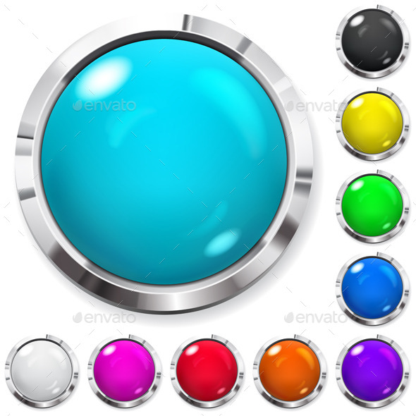 Set of Colored Buttons - Web Elements Vectors