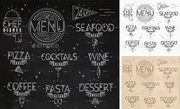 Menu in Vintage Style - Decorative Symbols Decorative
