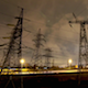Transmission Lines and Clouds at Night - VideoHive Item for Sale