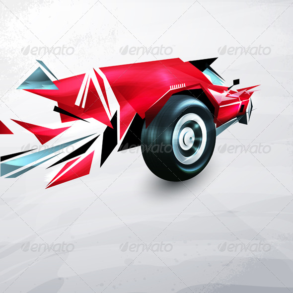 Abstract red racing car painted with graffiti - Abstract Conceptual