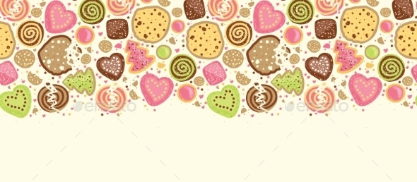 Cookies Horizontal Seamless Pattern - Food Objects