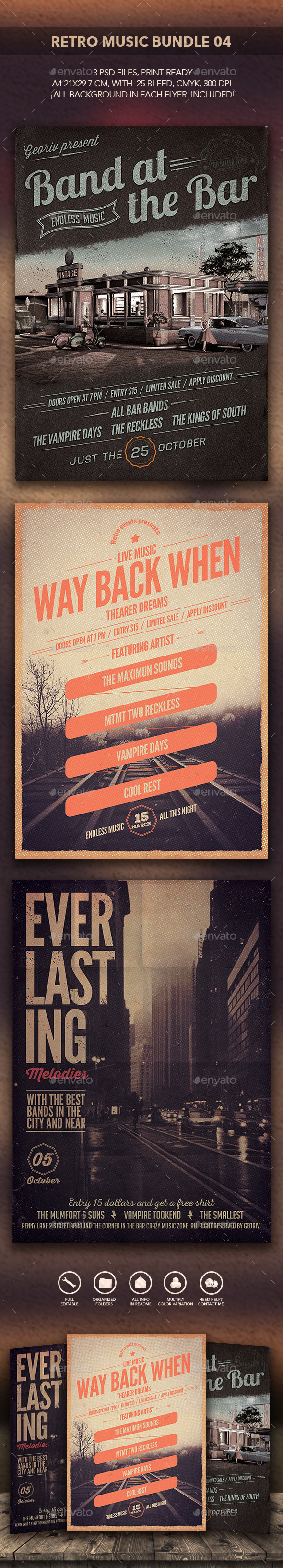 Retro Music Bundle 04 - Events Flyers