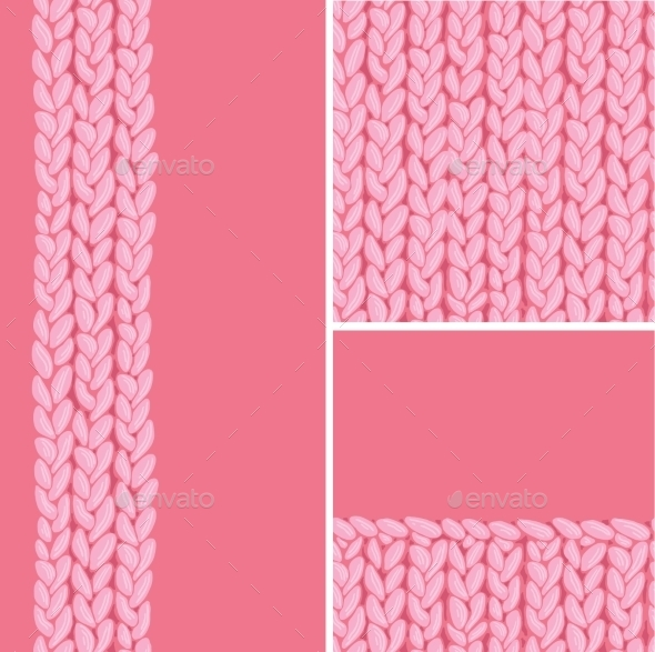 Pink Set of Three Knit Textile Seamless Patterns - Patterns Decorative