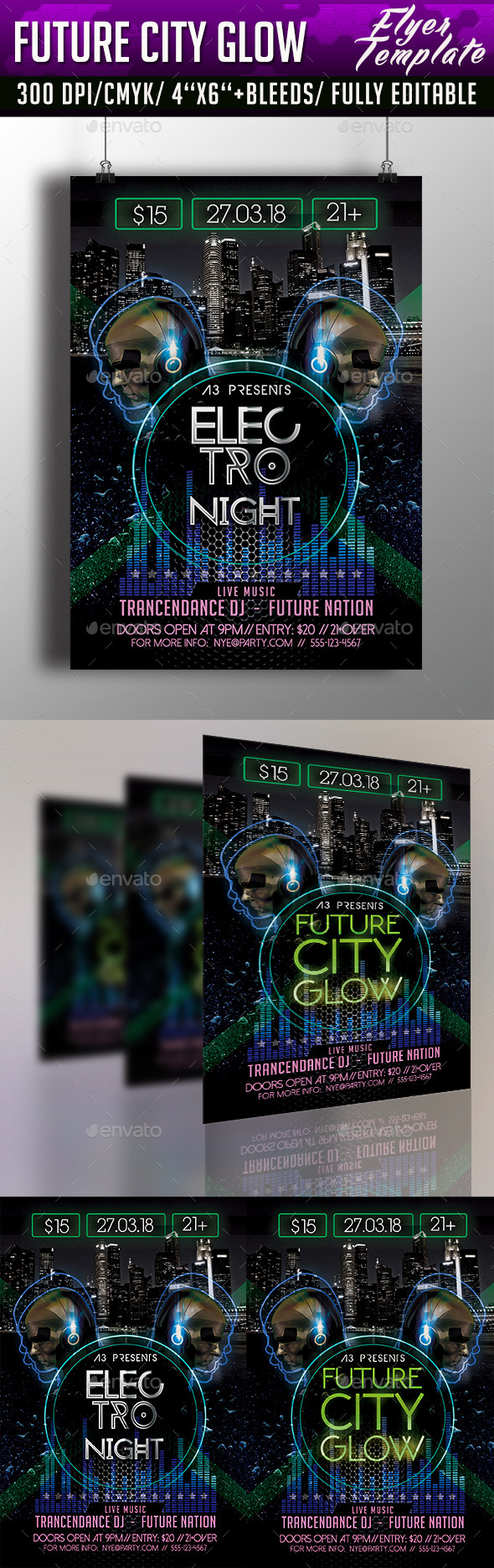 Future City Glow Flyer Template - Clubs & Parties Events