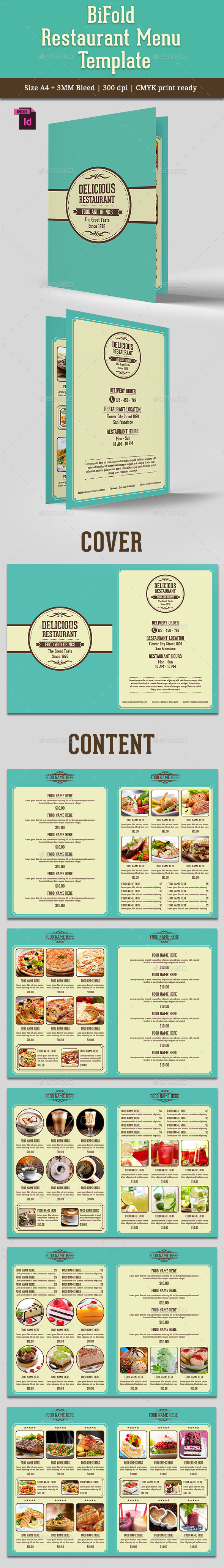 BiFold Restaurant Menu Vol. 6 - Food Menus Print Templates