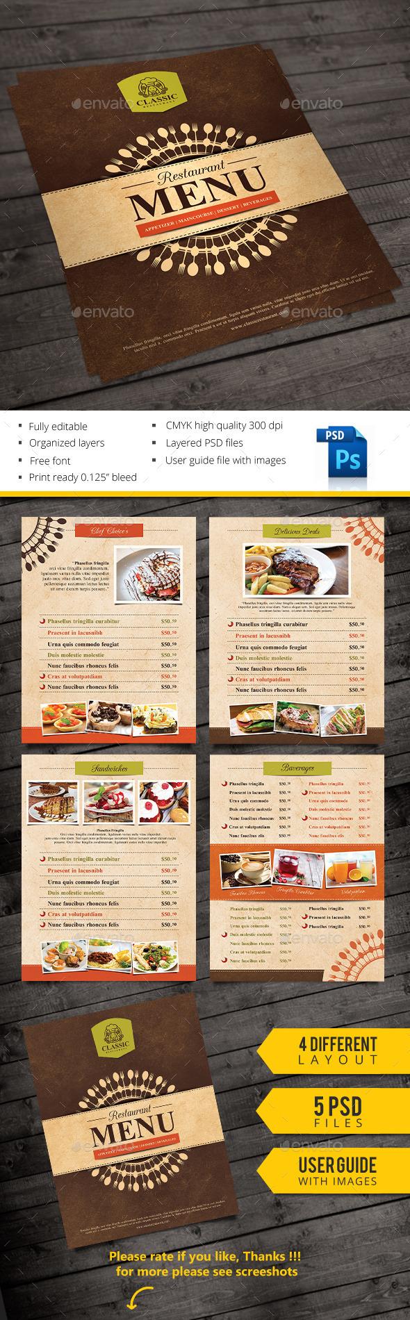 Classic Menu - Restaurant Flyers