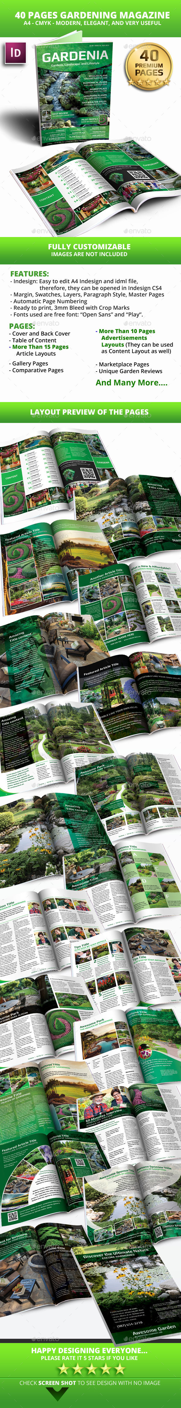 40 Pages Gardenia Modern Magazine Template - Magazines Print Templates