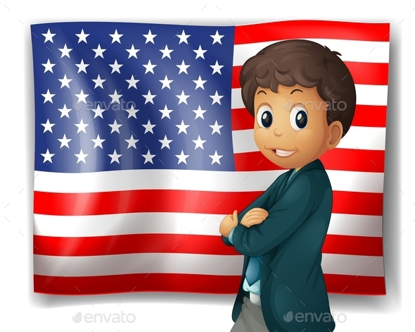 An American Flag with a Boy  - People Characters