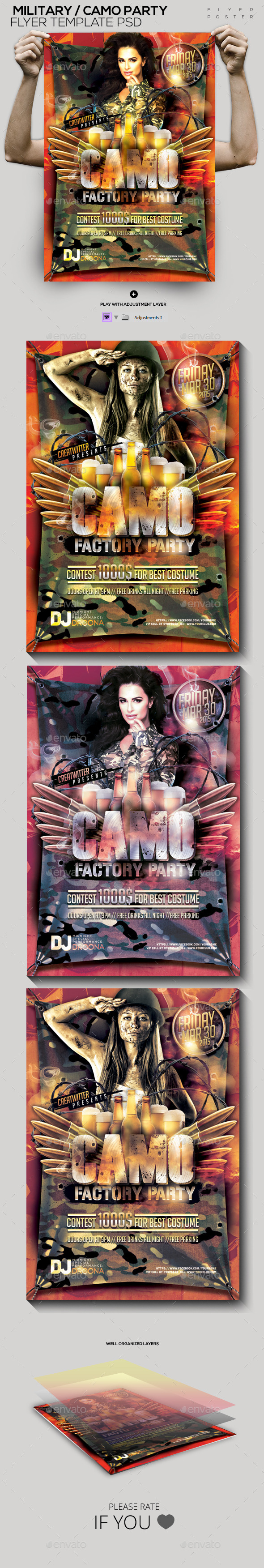 Military/ Camo Template PSD Flyer/Poster - Clubs & Parties Events