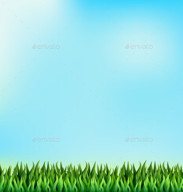 Green Grass Lawn on Blue Sky Background - Backgrounds Decorative