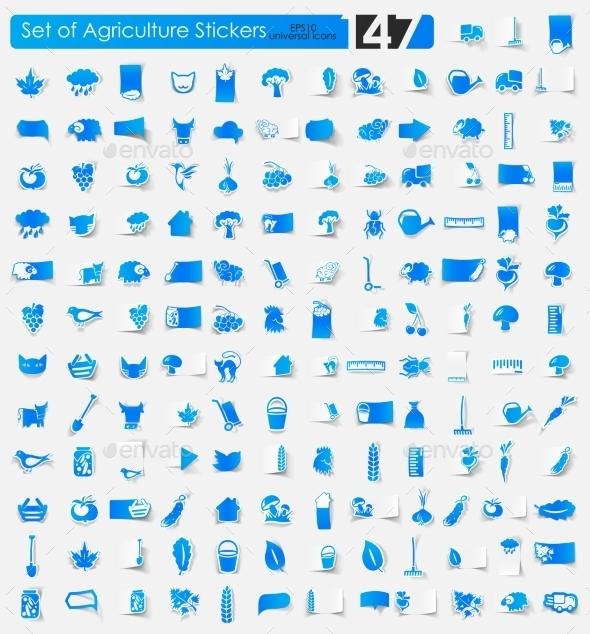 Agriculture Stickers - Web Elements Vectors
