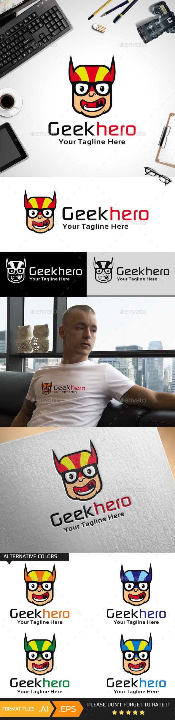 Geek Hero Logo Template - Humans Logo Templates