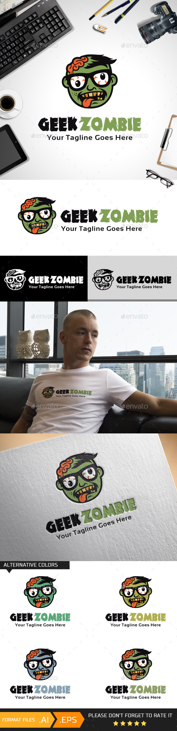 Geek Zombie Logo Template - Humans Logo Templates