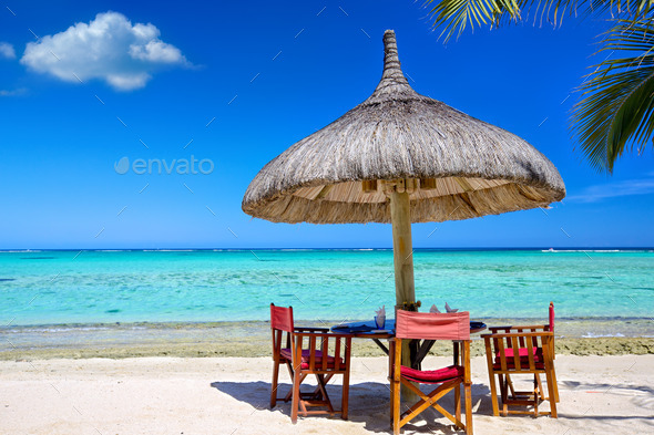 Breakfast on tropical beach - Stock Photo - Images